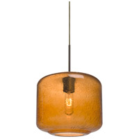 Niles 10 1 Light Bronze Cord Pendant Ceiling Light in Niles Amber Bubble Glass