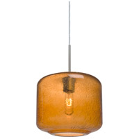 Niles 10 1 Light Satin Nickel Cord Pendant Ceiling Light in Niles Amber Bubble Glass
