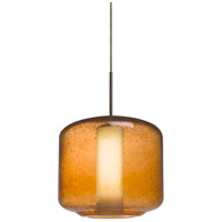 Niles 10 1 Light Bronze Cord Pendant Ceiling Light in Niles Amber Bubble/Opal Glass