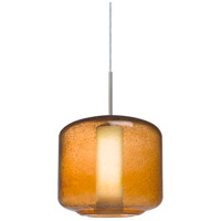Niles 10 1 Light Satin Nickel Cord Pendant Ceiling Light in Niles Amber Bubble/Opal Glass