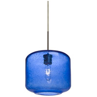 Niles 10 1 Light Bronze Cord Pendant Ceiling Light in Niles Blue Bubble Glass