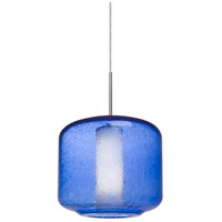 Niles 10 1 Light Satin Nickel Cord Pendant Ceiling Light in Niles Blue Bubble/Opal Glass