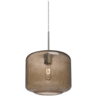 Niles 10 1 Light Satin Nickel Cord Pendant Ceiling Light in Niles Smoke Bubble Glass