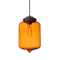 Olin 1 Light Bronze Pendant Ceiling Light in Transparent Amber Glass
