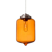 Olin 1 Light Satin Nickel Pendant Ceiling Light in Transparent Amber Glass