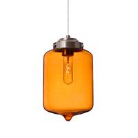 Besa Lighting 1JT-OLINAM-SN Olin 1 Light Satin Nickel Pendant Ceiling Light in Transparent Amber Glass