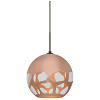 Besa Lighting 1JT-ROCKYCP-BR Rocky 1 Light 10 inch Bronze Cord Pendant Ceiling Light in Copper Glass Incandescent