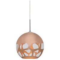 Besa Lighting 1JT-ROCKYCP-SN Rocky 1 Light 10 inch Satin Nickel Cord Pendant Ceiling Light in Copper Glass Incandescent