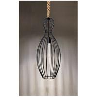 Besa Lighting 1JT-STRIKE-BK Strike 1 Light Black Rope Pendant Ceiling Light