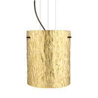 Besa Lighting Tamburo 1 Light Bronze Pendant Ceiling Light in Stone Gold Foil Glass Incandescent