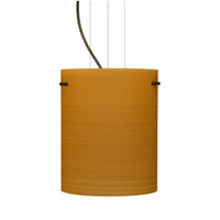 Besa Lighting Tamburo 1 Light Bronze Pendant Ceiling Light in Oak Glass Incandescent