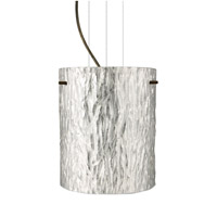 Besa Lighting Tamburo 1 Light Bronze Pendant Ceiling Light in Stone Silver Foil Glass Incandescent