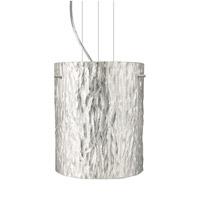 Besa Lighting Tamburo LED Satin Nickel Pendant Ceiling Light in Stone Silver Foil Glass