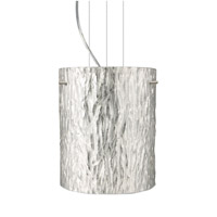 Besa Lighting Tamburo 1 Light Satin Nickel Pendant Ceiling Light in Stone Silver Foil Glass Incandescent