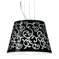 Besa Lighting Amelia LED Satin Nickel Pendant Ceiling Light in Black Damask Glass