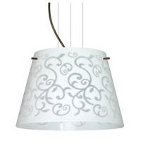 Besa Lighting Amelia LED Bronze Pendant Ceiling Light in White Damask Glass