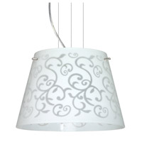 Besa Lighting Amelia LED Satin Nickel Pendant Ceiling Light in White Damask Glass