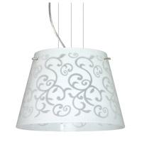 Besa Lighting Amelia 1 Light Satin Nickel Pendant Ceiling Light in White Damask Glass Halogen