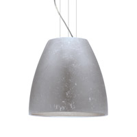 Bella LED Satin Nickel Pendant Ceiling Light in Silver Foil Glass