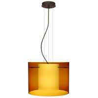 Besa Lighting Pahu LED Bronze Pendant Ceiling Light in Transparent Armagnac/Opal Glass