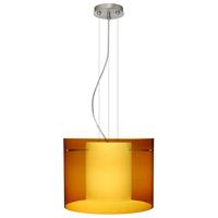 Besa Lighting Pahu LED Satin Nickel Pendant Ceiling Light in Transparent Armagnac/Opal Glass