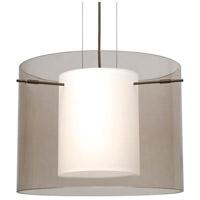 Besa Lighting Pahu LED Bronze Pendant Ceiling Light in Transparent Smoke/Opal Glass