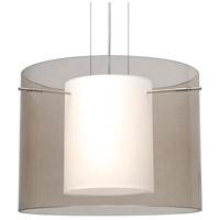 Besa Lighting Pahu LED Satin Nickel Pendant Ceiling Light in Transparent Smoke/Opal Glass