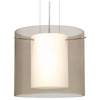 Besa Lighting Pahu LED Satin Nickel Pendant Ceiling Light in Transparent Smoke/Opal Glass