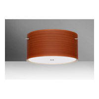 Besa Lighting 1KM-4008CH-SN Tamburo 3 Light 16 inch Satin Nickel Semi-Flush Mount Ceiling Light in Cherry Glass, Incandescent