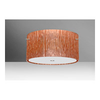 Tamburo LED 16 inch Satin Nickel Semi-Flush Mount Ceiling Light in Stone Copper Foil Glass
