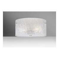 Tamburo 3 Light 16 inch Satin Nickel Semi-Flush Mount Ceiling Light in Glitter Stone Glass, Incandescent
