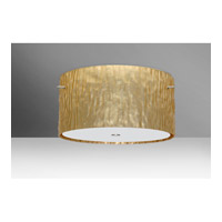 Tamburo 3 Light 16 inch Satin Nickel Semi-Flush Mount Ceiling Light in Stone Gold Foil Glass, Incandescent