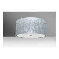 Tamburo 3 Light 16 inch Satin Nickel Semi-Flush Mount Ceiling Light in Stone Silver Foil Glass, Incandescent