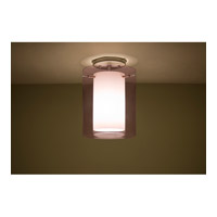 Pahu LED 8 inch Satin Nickel Semi-Flush Mount Ceiling Light in Transparent Amethyst/Opal Glass