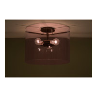 Pahu 3 Light 16 inch Bronze Semi-Flush Mount Ceiling Light in Incandescent, Transparent Amethyst Glass