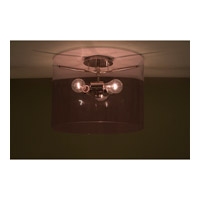Pahu 3 Light 16 inch Satin Nickel Semi-Flush Mount Ceiling Light in Incandescent, Transparent Amethyst Glass