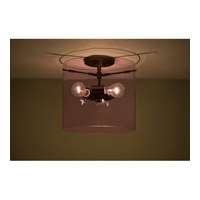Pahu 3 Light 12 inch Bronze Semi-Flush Mount Ceiling Light in Incandescent, Transparent Amethyst Glass