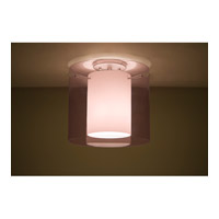Pahu LED 12 inch Satin Nickel Semi-Flush Mount Ceiling Light in Transparent Amethyst/Opal Glass