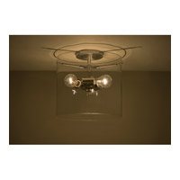 Pahu 3 Light 12 inch Satin Nickel Semi-Flush Mount Ceiling Light in Incandescent, Transparent Amethyst Glass