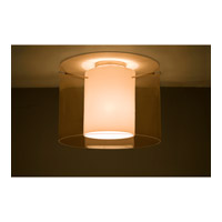 Pahu LED 16 inch Satin Nickel Semi-Flush Mount Ceiling Light in Transparent Armagnac/Opal Glass