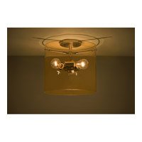 Pahu 3 Light 12 inch Satin Nickel Semi-Flush Mount Ceiling Light in Incandescent, Transparent Armagnac Glass