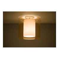 Pahu 1 Light 12 inch Satin Nickel Semi-Flush Mount Ceiling Light in Transparent Armagnac/Opal Glass, Incandescent