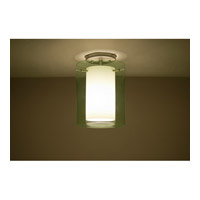 Pahu LED 8 inch Satin Nickel Semi-Flush Mount Ceiling Light in Transparent Olive/Opal Glass