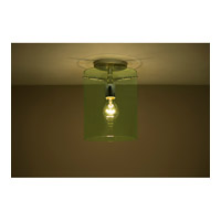 Pahu 1 Light 8 inch Satin Nickel Semi-Flush Mount Ceiling Light in Incandescent, Transparent Olive Glass