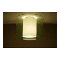 Pahu LED 16 inch Satin Nickel Semi-Flush Mount Ceiling Light in Transparent Olive/Opal Glass