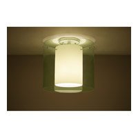 Pahu 1 Light 12 inch Satin Nickel Semi-Flush Mount Ceiling Light in Transparent Olive/Opal Glass, Incandescent
