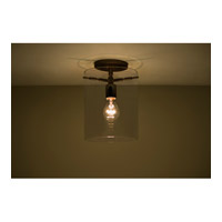 Pahu 1 Light 8 inch Bronze Semi-Flush Mount Ceiling Light in Transparent Smoke Glass, Incandescent