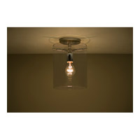 Pahu 1 Light 8 inch Satin Nickel Semi-Flush Mount Ceiling Light in Transparent Smoke Glass, Incandescent