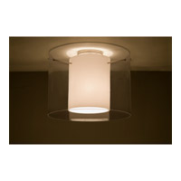 Pahu LED 16 inch Satin Nickel Semi-Flush Mount Ceiling Light in Transparent Smoke/Opal Glass