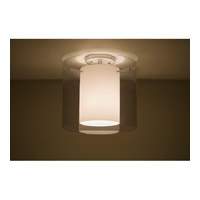 Pahu LED 12 inch Satin Nickel Semi-Flush Mount Ceiling Light in Transparent Smoke/Opal Glass